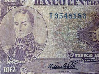 BILLETE 10 Bs. VENEZUELA, 1964 SERIE T7
