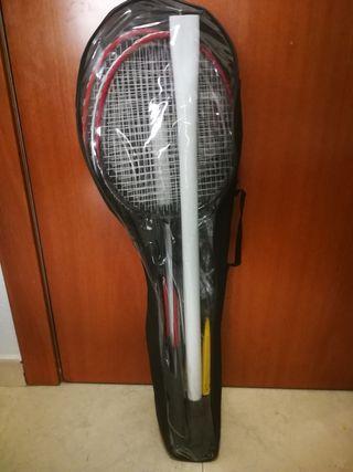 Dos raquetas nuevas de badminton + red