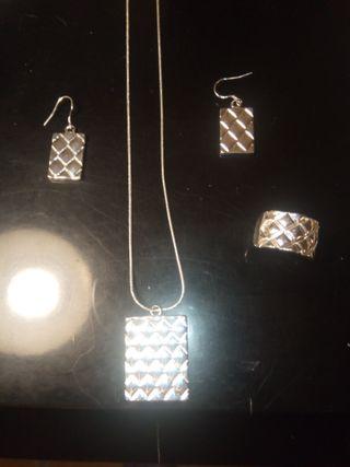Conjunto plata auténtica collar, pendientes