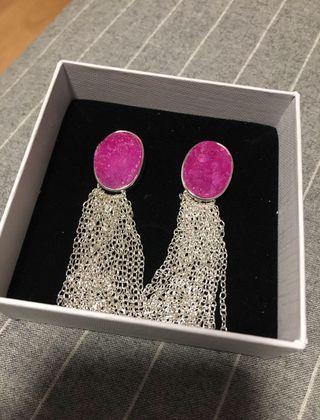Pendientes De Plata con Piedra Rosa