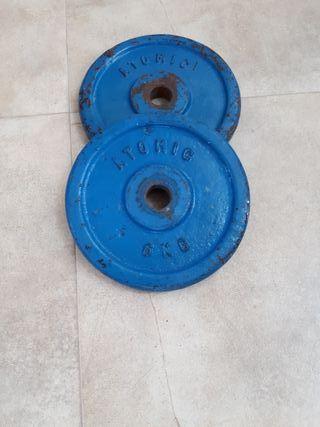 2 Pesas hierro 6 kg. ATOMIC