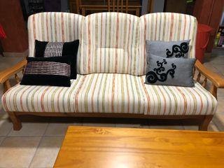 Conjunto sofas de madera