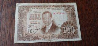 Antiguo billete de cien pesetas