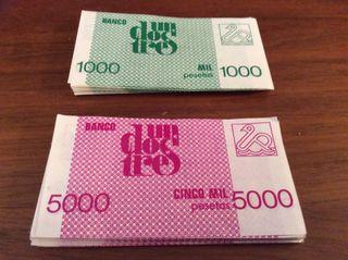 Billetes de 1000 y 5000 pesetas del un dos tres