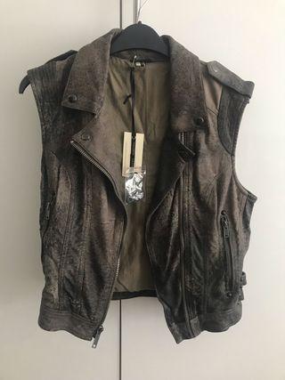 TopShop classic sleeveless leather jacket