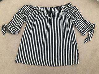 Navy and white stripe bardot top H&M
