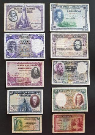 LOTE DE 10 BILLETES DE 1925-1935