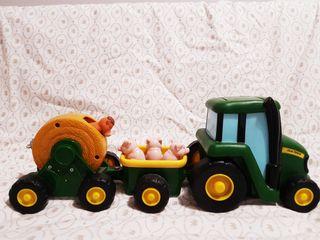 juguete tractor con remolque y animales