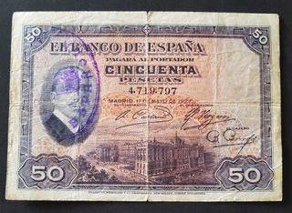 BILLETE 50 PTAS 1927 RESELLO REPÚBLICA