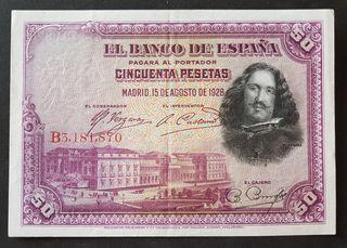 BILLETE 50 PTAS DE 1928, EBC+.