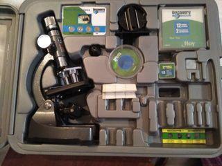 maletín con microscopio y accesorios