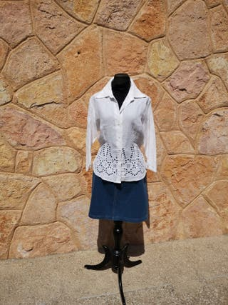 camisa blanca calada talla 44