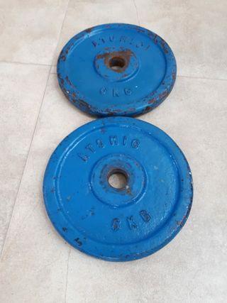 2 Pesas hierro 6 kg. ATOMIC.
