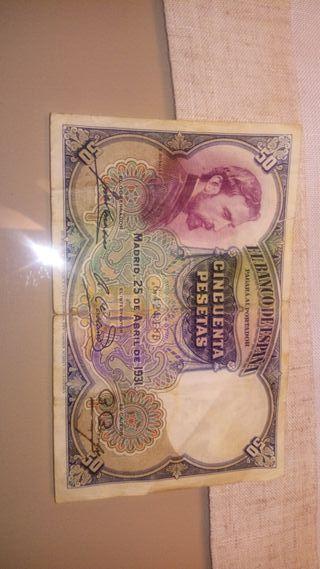 billete de 50 pesetas de 1931, rosales