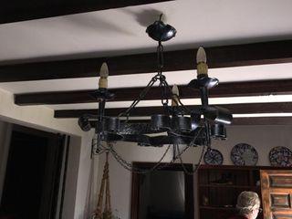 Lámpara de techo rústica de forja