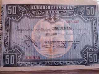 Billete 50 pesetas VIZCAYA 1937