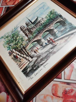 precioso cuadro Paris catedral Notre Dame