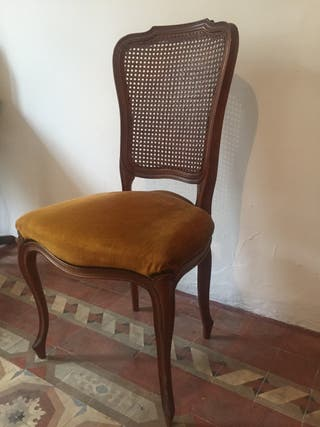 Lote 4 sillas lujo terciopelo y madera