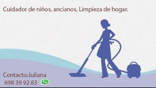 limpieza de hogar, cuidado de niños y ancianos