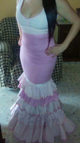 Vestido de flamenca rosa bebe 38