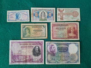 7 billetes españoles diferentes