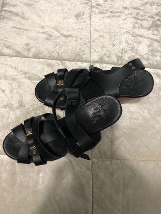 Sandalias con plataforma de piel