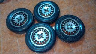 4 LLANTAS 13 de acero de 4 tornillos con neumático