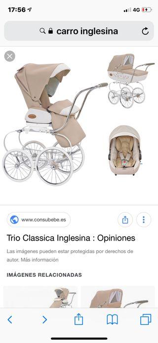 Carro iglesina con silla capazo y bolso