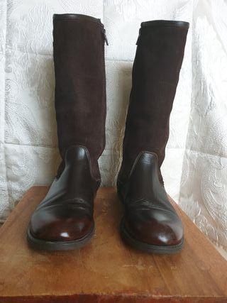 Botas de piel y ante marrón,talla 37