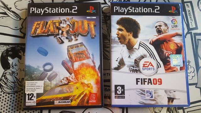 Flat Out y Fifa 09 PS2