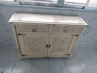 Mueble recibidor - madera y mármol