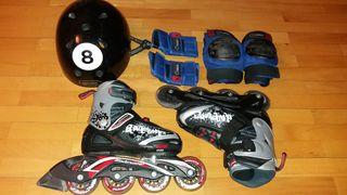 Patines linea niño ajustables + casco/protecciones