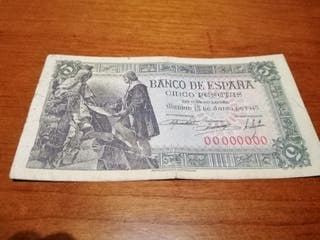 billete 5 pesetas serie 00000