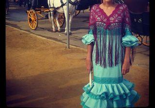 Traje de flamenca verdeagua