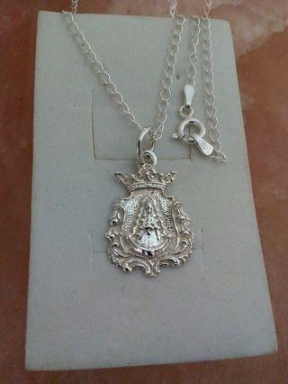 Medalla y cadena plata de ley, virgen del Rocio
