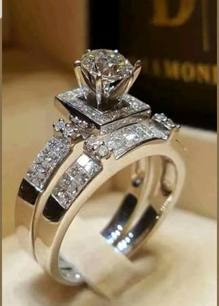 925 silver with topaz wedding/engagement ring set