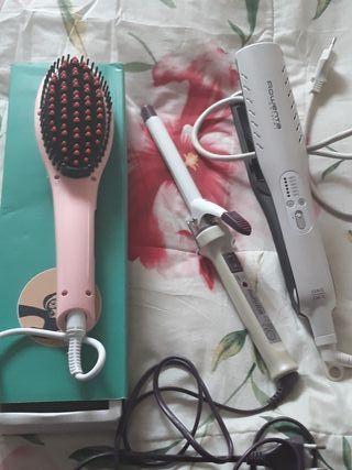 plancha pelo, tenacillas y cepillo alisador