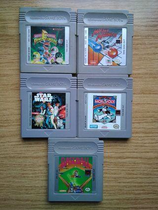 Lote 5 juegos Gameboy: Star Wars, Power Rangers...