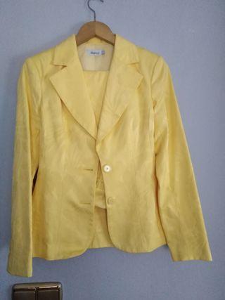 Traje chaqueta y pantalón. mujer tienda Blanco de segunda