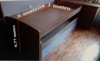 cama nido+mueble guarda objetos y cajonera