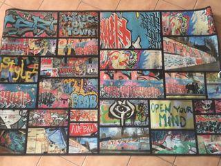 Alfombra dibujos graffiti