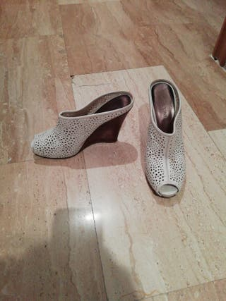 Blanco Zapatos, original Basconi,cuero, talla 39