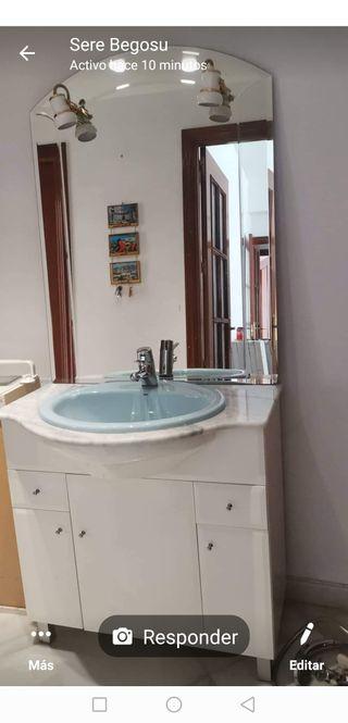 mueble lavabo madera + espejo+grifo +2 FOQUITOS