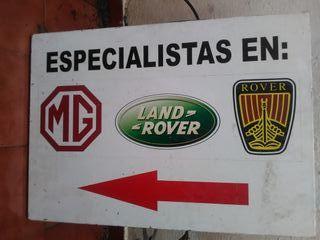cartel chapa taller MG land Rover rótulo decoracio