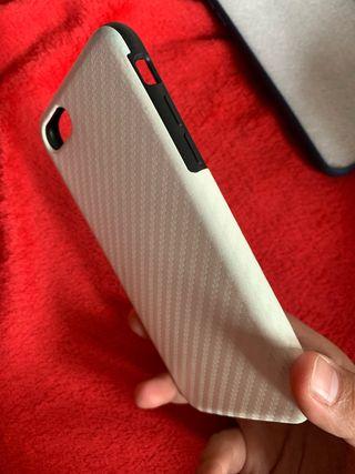 Funda iphone 7 imitacion carbono blanco