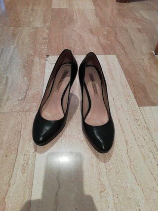 Zapatos cuero 100 %, negro, talla 39