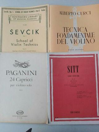 Métodos estudios de violín. Sevcik, Sitt, Paganini