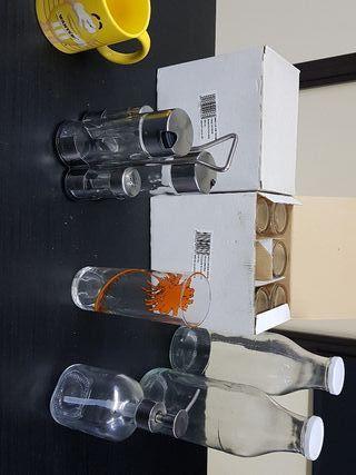 Vasos + Botellas + Juego aceitera