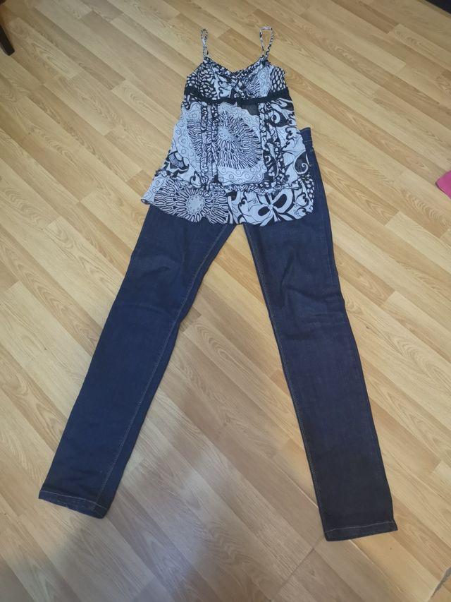 Conjunto jeans y blusa