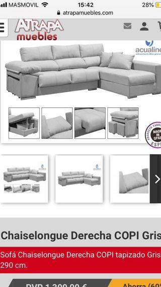 Sofa Chaiselongue COPI gris ceniza